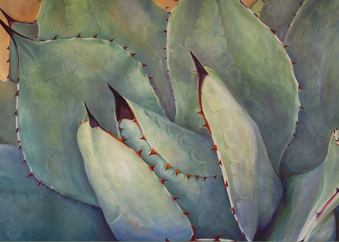 Agave Greeting Card featuring the painting Prickly 2 by Athena Mantle