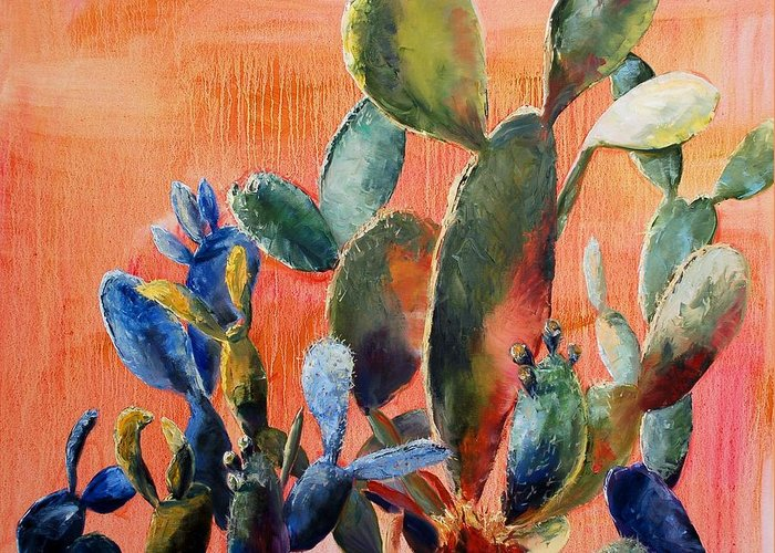 Cactus Greeting Card featuring the painting Prickly Pear by Lynee Sapere