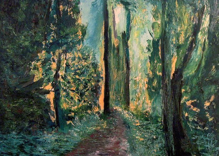 Priest Point Trail Greeting Card featuring the painting Priest Point Trail by Richard Beauregard