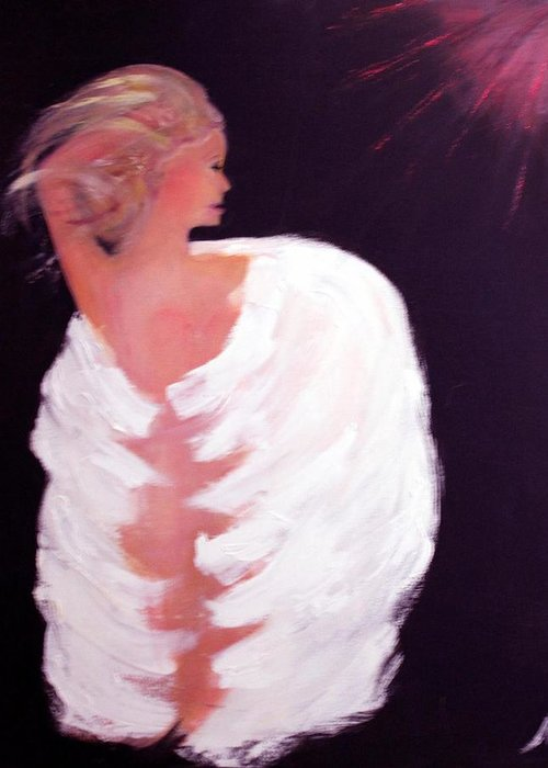 Angel Religious Devotional Cosmic New Age Greeting Card featuring the painting Primal by Michela Akers