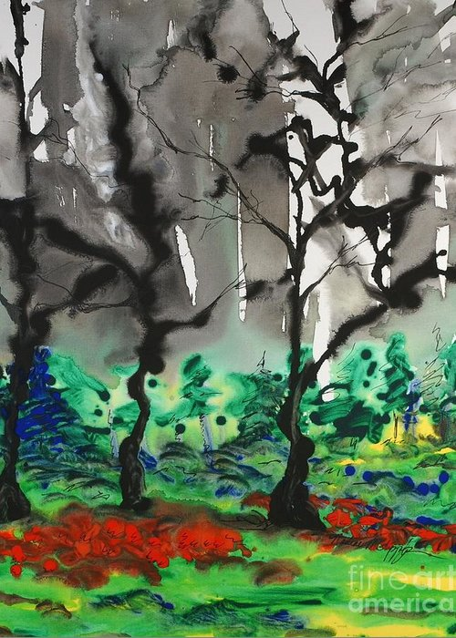 Forest Greeting Card featuring the painting Primary Forest by Nadine Rippelmeyer