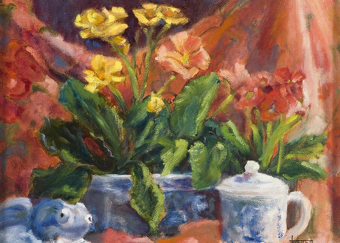 Flowers Greeting Card featuring the painting Primroses And Blue China by Jimmie Trotter