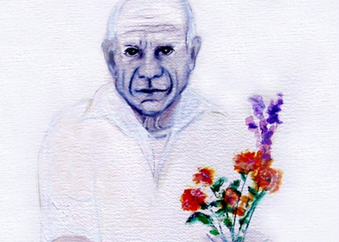Pablo Picasso Greeting Card featuring the painting Primroses For Picasso by Michela Akers