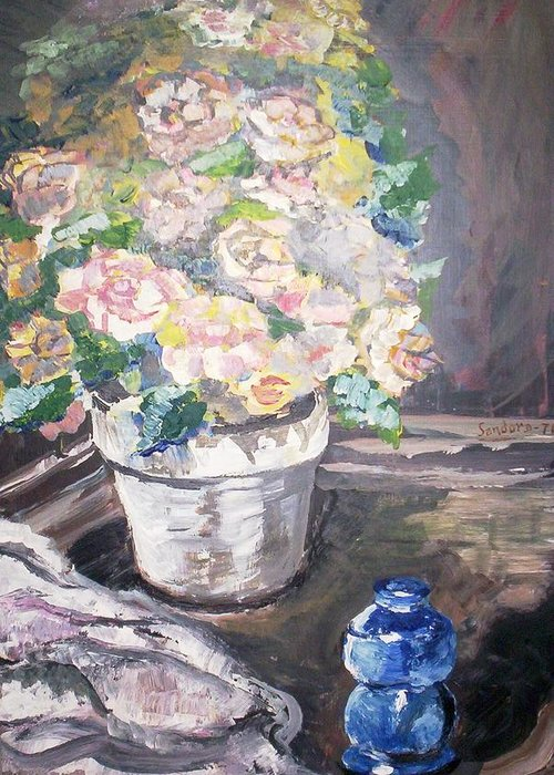 Flowers Primroses Flower Pot Still Life Greeting Card featuring the painting Primroses In Pot by Joseph Sandora Jr