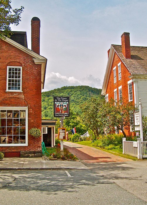 Prince And The Pauper Restaurant In Woodstock Greeting Card featuring the photograph Prince And The Pauper Restaurant In Woodstock-vermont by Ruth Hager