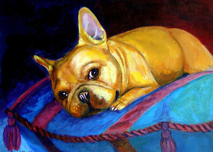 French Bulldog Greeting Card featuring the painting Princess And Her Pillow French Bulldog by Lyn Cook