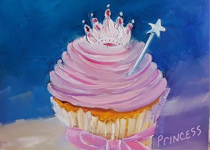 Princess Cupcake Greeting Card featuring the painting Princess Cupcake by Judy Fischer Walton
