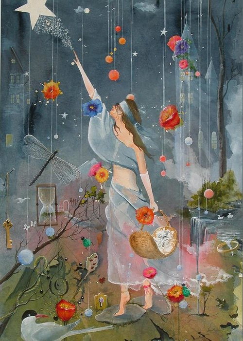 Princess Greeting Card featuring the painting Princess Marcath - The Star Lighter by Jackie Mueller-Jones