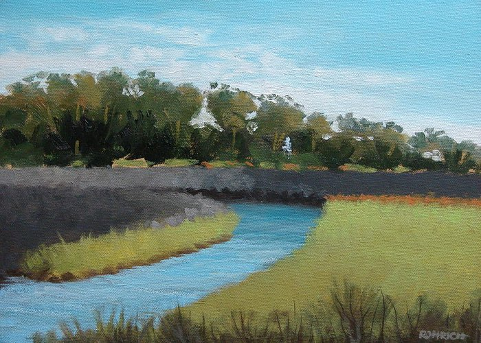 Landscape. Waterway Greeting Card featuring the painting Princess Place Preserve by Robert Rohrich