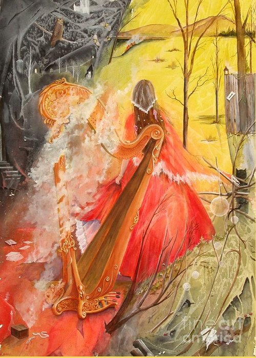 Princess Greeting Card featuring the painting Princess Rebecca - Keeper Of The Golden Harp by Jackie Mueller-Jones