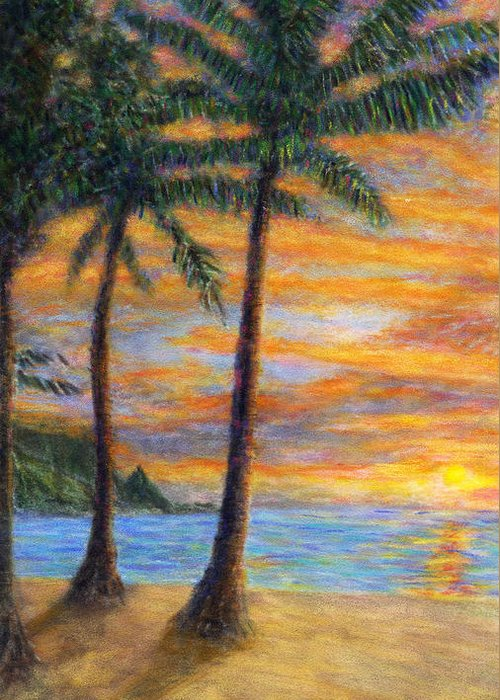 Coastal Decor Greeting Card featuring the painting Princeville Beach Palms by Kenneth Grzesik
