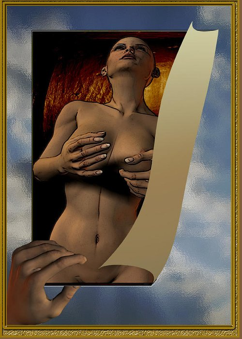 Figure Work Greeting Card featuring the digital art Print Viewing by Peter Jenkins