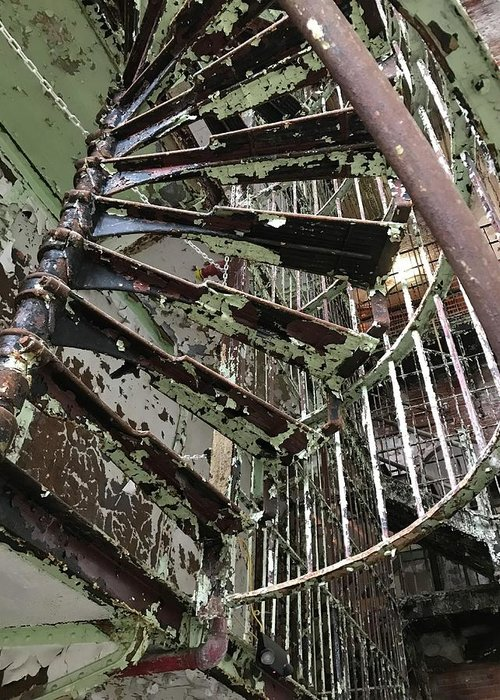 Staircase Greeting Card featuring the photograph Prison Spiral Staircase by James Birce