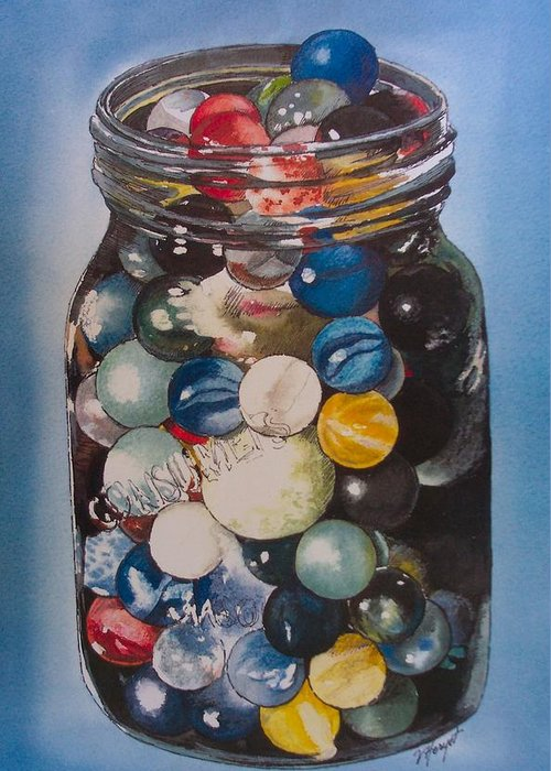 Marbles Greeting Card featuring the painting Prized Collection by Victoria Heryet