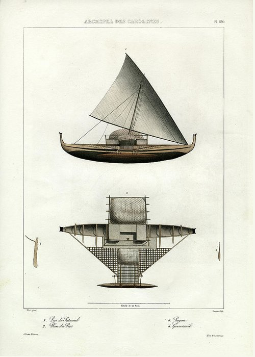 Sailboat Greeting Card featuring the drawing Proa Of Satawal Archipel Des Carolines by Dumont d Urville