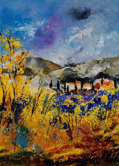 Poppies Artwork Greeting Card featuring the painting Procence 569011 by Pol Ledent