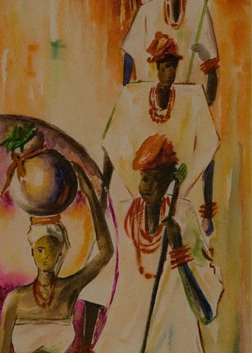 Greeting Card featuring the painting Procession by Alfred Awonuga