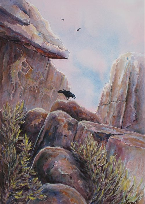 Ravens Greeting Card featuring the painting Processional by Don Trout