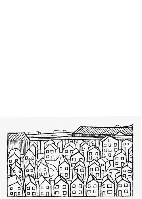 Suburbia Greeting Card featuring the drawing Proche Banlieue by Andy Mercer