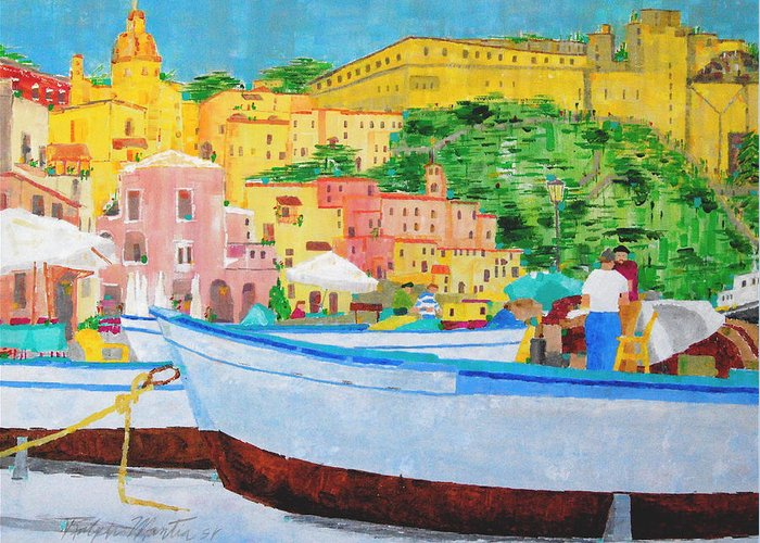 Boats Greeting Card featuring the painting Procida by Art Mantia