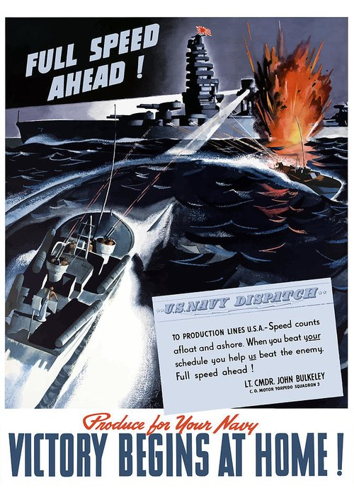 World War Ii Greeting Card featuring the painting Produce For Your Navy by War Is Hell Store