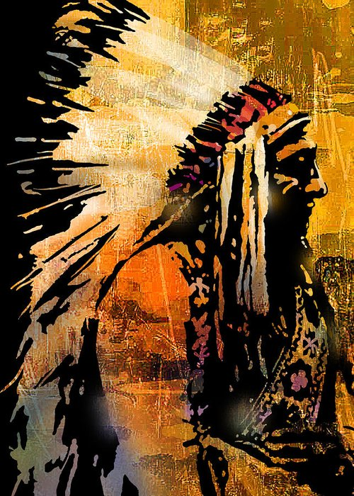 Native American Greeting Card featuring the painting Profile of Pride by Paul Sachtleben