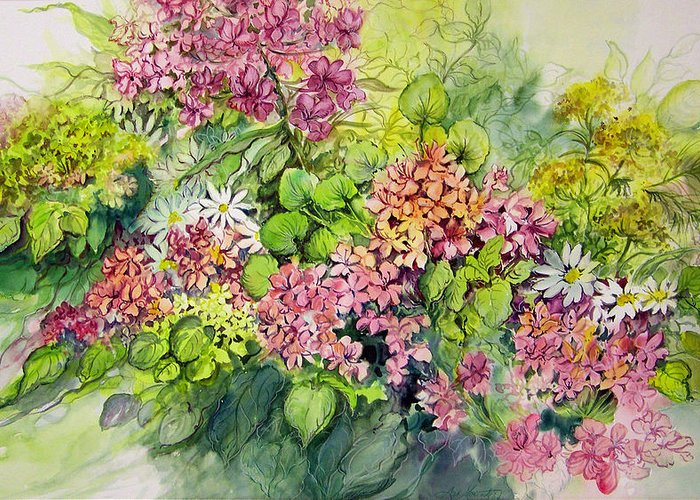 Flowers;floral;watercolor Floral;contemporary Floral;daisies; Greeting Card featuring the painting Profusion Of Colors by Lois Mountz