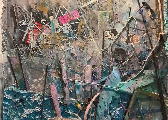 Dimensional Collage Abstract Wall-sculpture Robert Anderson Greeting Card featuring the painting Progression Of Waste by Robert Anderson