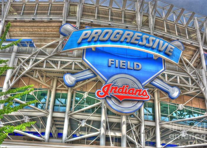 Progressive Field Greeting Card featuring the photograph Progressive Field by David Bearden