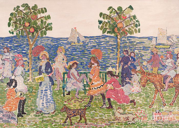 Promenade Greeting Card featuring the painting Promenade by Maurice Brazil Prendergast
