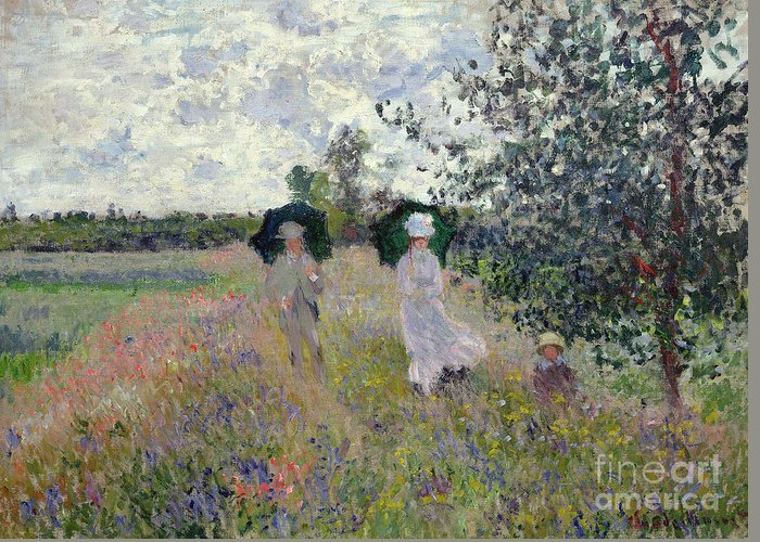 Walk; Walking; Landscape; Impressionist; Male; Female; Family; Child; Parasol; Parasols; Monet; Claude; Family; Umbrella; Umbrellas; Dress; Suit; Hat; Hats; Stroll; Tree; Trees; Grass; Grassy; Green; Flower; Flowers; Bush; Bushes; Argenteuil Greeting Card featuring the painting Promenade Near Argenteuil by Claude Monet