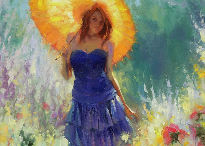 Woman Greeting Card featuring the painting Promenade by Steve Henderson