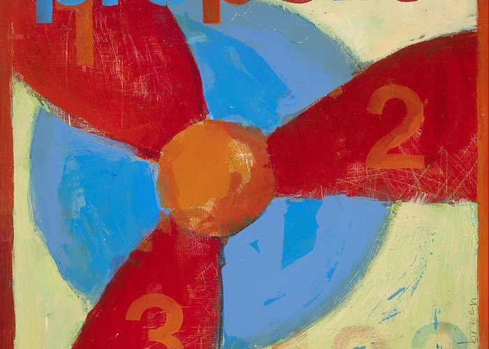 Propeller Painting Greeting Card featuring the painting Propeller by Laurie Breen