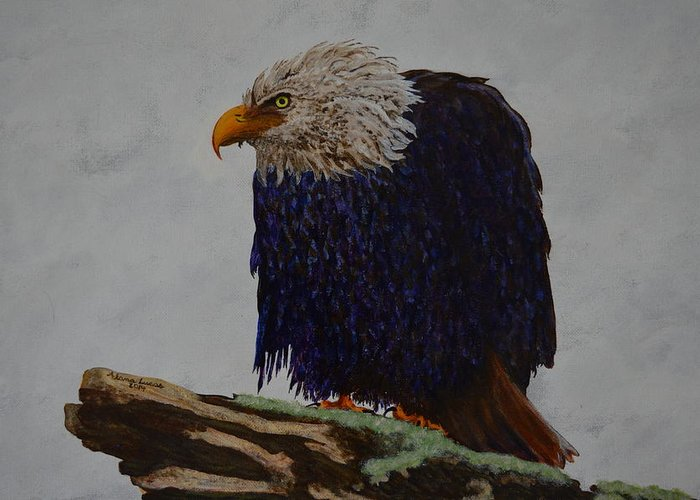 Eagle Greeting Card featuring the painting Prophetic Hunch by Alana Sheehy