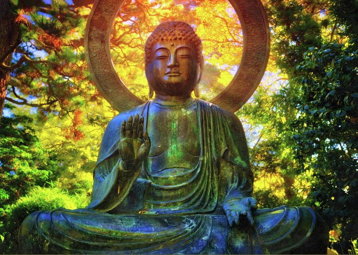 Protection buddha 2 in japanese tea garden at golden gate park california greeting card featuring the photograph protection buddha 2 in japanese tea garden at golden m4hsunfo