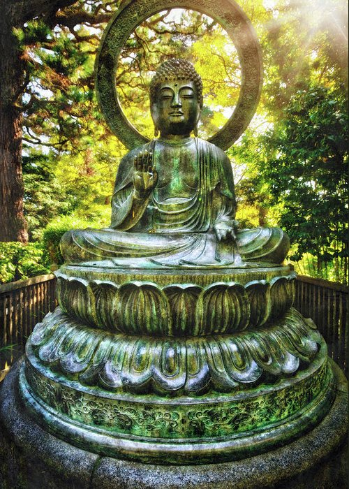 Protection buddha in the japanese tea garden at golden gate park california greeting card featuring the photograph protection buddha in the japanese tea garden at golden gate m4hsunfo