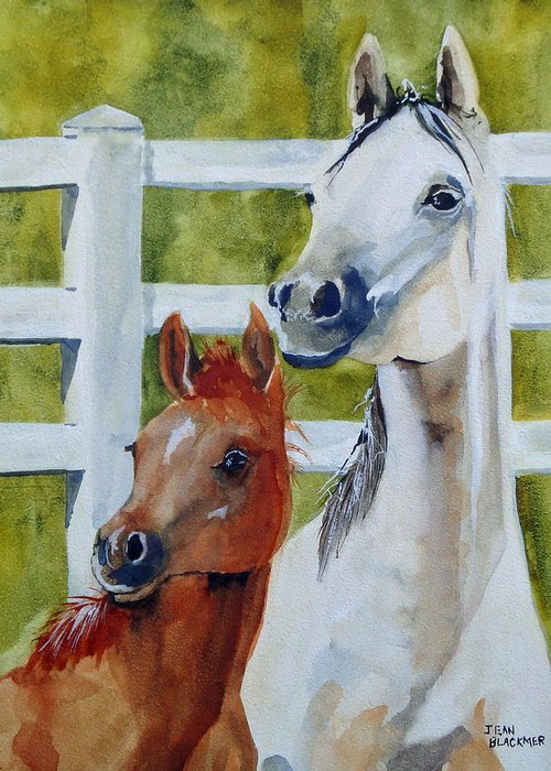 Equine Greeting Card featuring the painting Proud Mama by Jean Blackmer