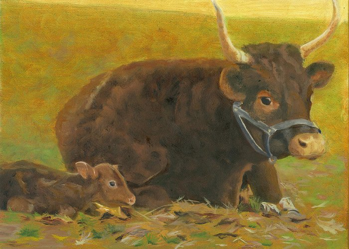 Cow Calf Bull Farmscene Greeting Card featuring the painting Proud Pappa by Paula Emery