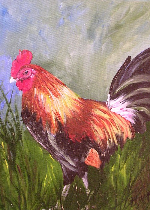 Rooster Greeting Card featuring the painting Proud Rooster by Barbara Harper