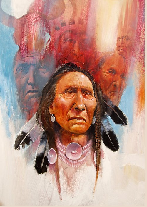 Native American Greeting Card featuring the painting Proud Warrior by Robert Carver