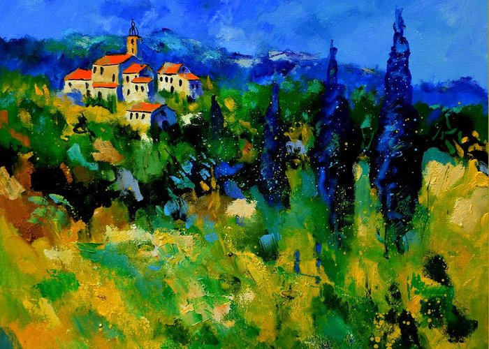 Landscape Greeting Card featuring the painting Provence 768110 by Pol Ledent