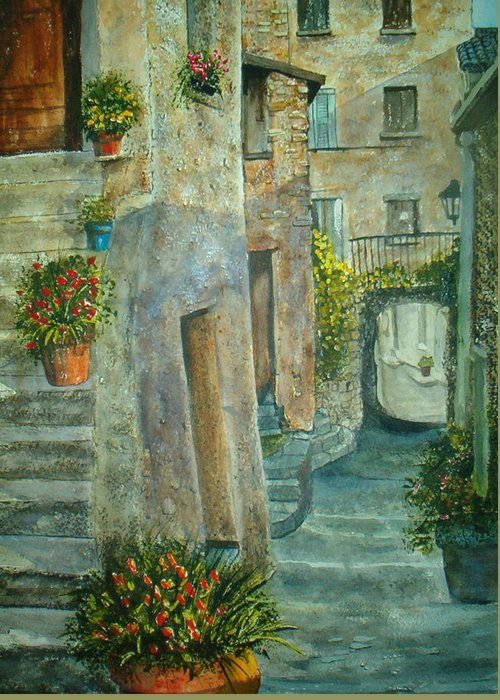 Landscape Greeting Card featuring the painting Provence Alley by Shirley Braithwaite Hunt