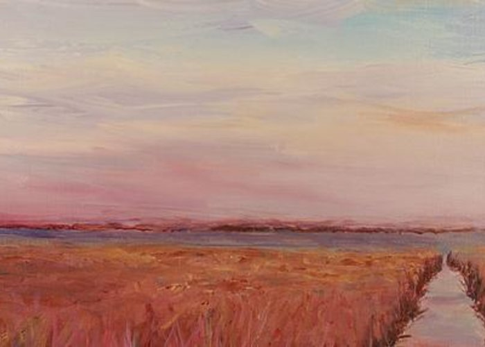 Landscape Greeting Card featuring the painting Provence Camargue by Nadine Rippelmeyer