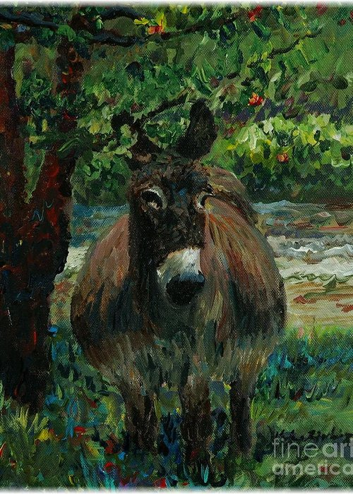 Donkey Greeting Card featuring the painting Provence Donkey by Nadine Rippelmeyer
