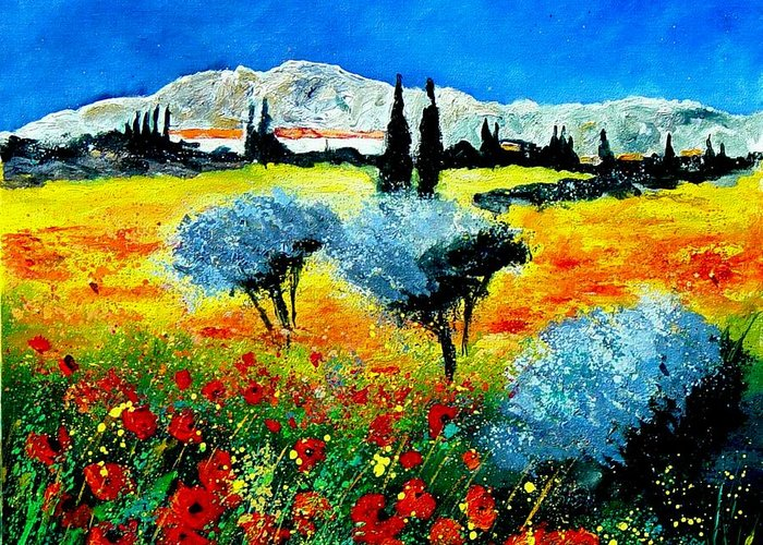 Poppies Greeting Card featuring the painting Provence by Pol Ledent