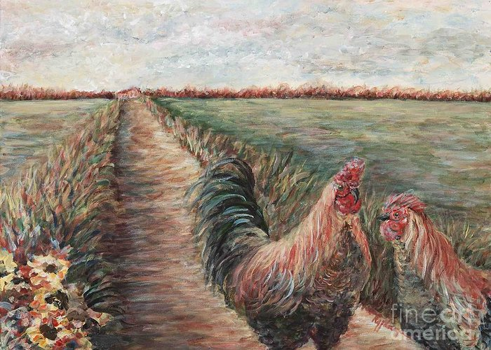 Provence Greeting Card featuring the painting Provence Roosters by Nadine Rippelmeyer