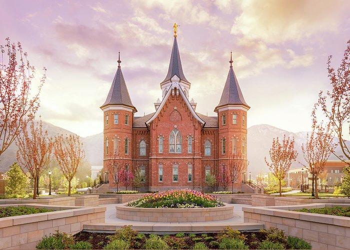 Provo City Center Utah Temple Greeting Card featuring the photograph Provo City Center Temple Dawn by Tausha Schumann