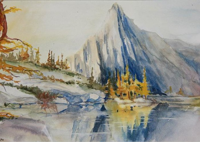 Mountains Greeting Card featuring the painting Prusik Peak Fall Morning by Sukey Watson