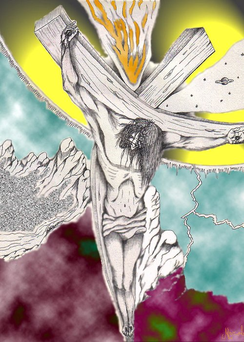 Spiritual Greeting Card featuring the digital art Psalm 22 Ch 13-15... by Marco Morales