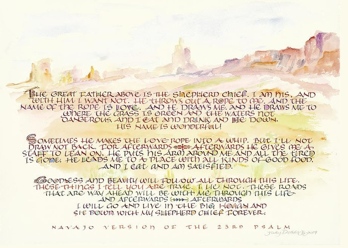 Christian Greeting Card featuring the painting Psalm 23 Navajo Version by Judy Dodds